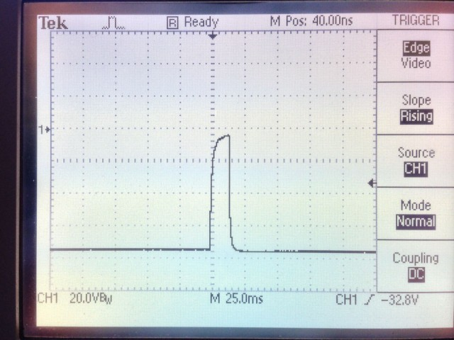 Output of pulse amplifier after it warmed up.