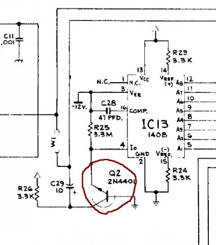 D/A converter with Q2 transistor.
