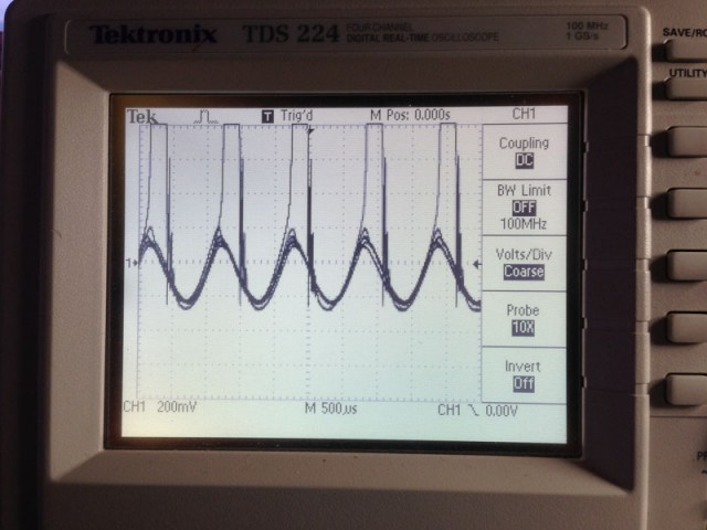 Amplifier breaking down and oscillating at slightly higher volume.