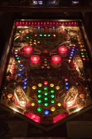 Playfield with all LED lighting (except for row of red lights at the very top).  Click for larger.