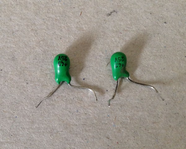 Shorted capacitors.