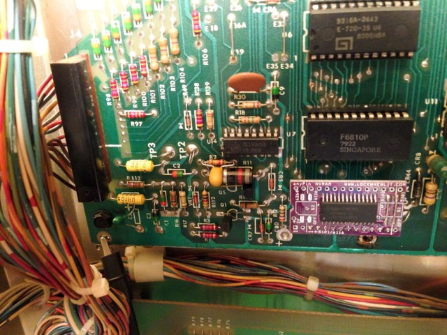 4.7uF capacitor added across R2 to assist reset circuit.  AnyPin NVRAM module in lower right.
