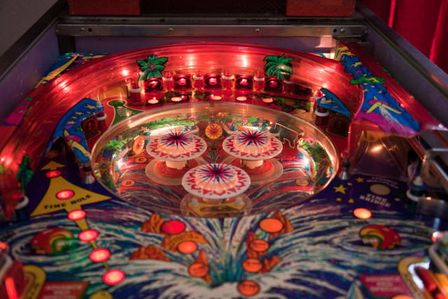 Center playfield on Time Machine in the lowered position, allowing access to the targets at the top.